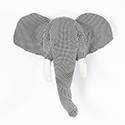 Houndstooth Elephant - Wall Mount