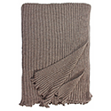 Brown - Lambswool Ribbed Scarf